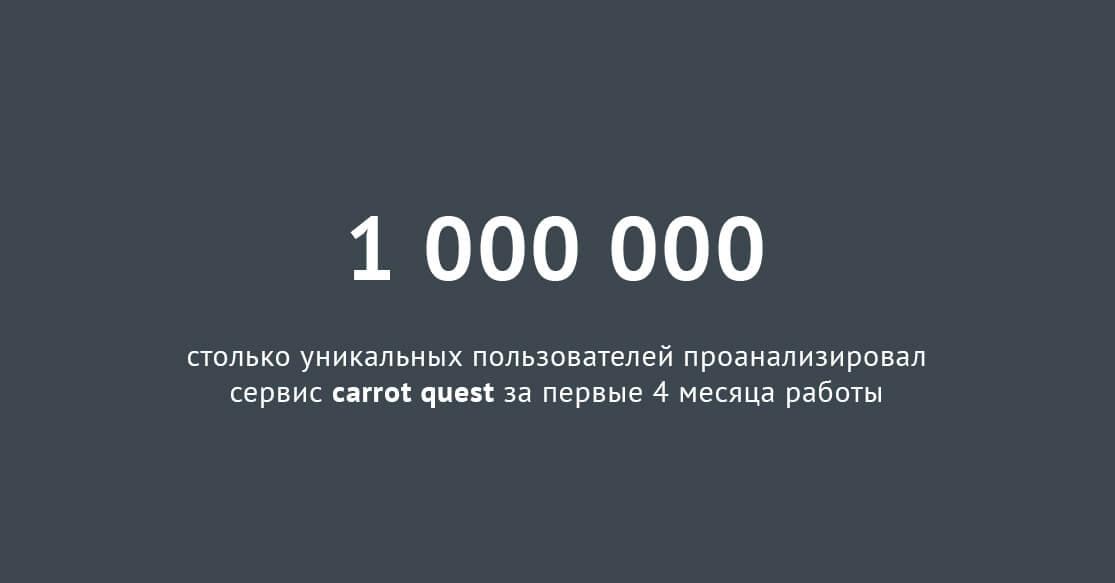 1000000 уникальных пользователей проанализировал Carrot quest