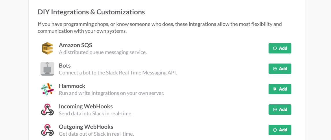 страница интеграции со Slack