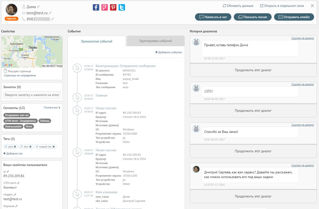 информация о данном пользователе