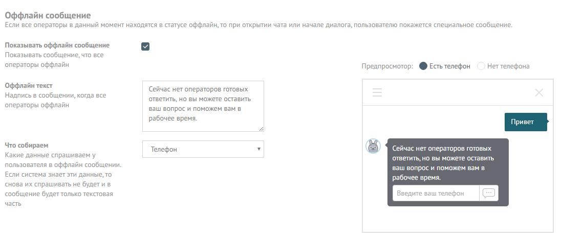 Настройки чата - оффлайн сообщение