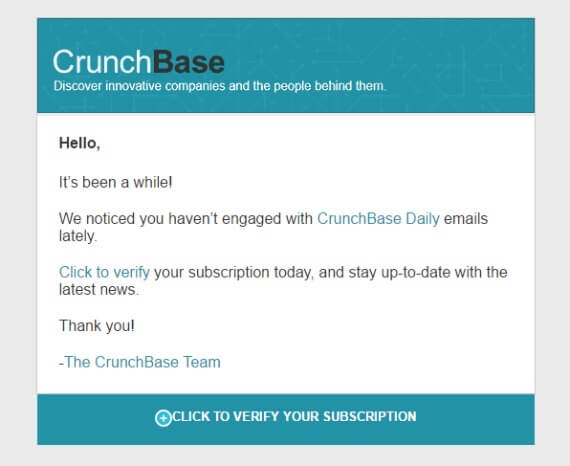 Сообщение пользователям Crunch Base