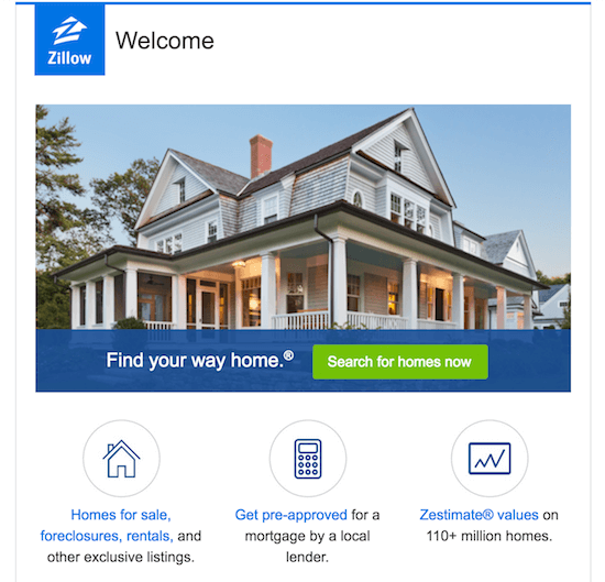 welcome письмо zillow