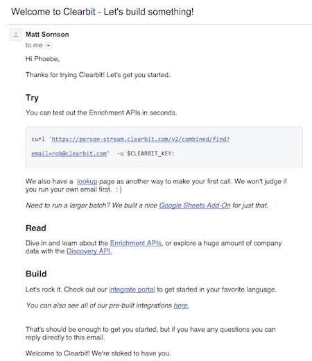 clearbit приветственные письма разработчикам