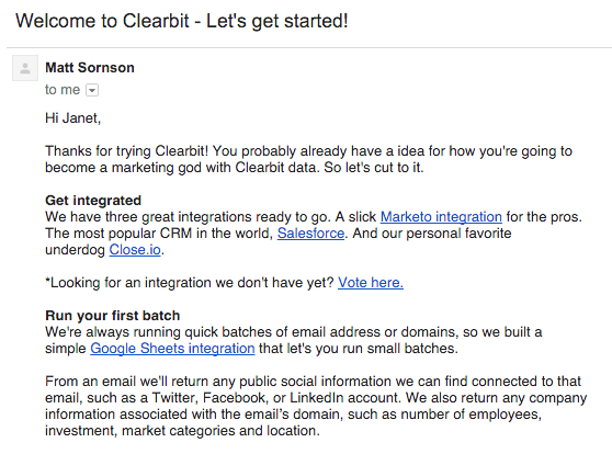 Clearbit приветственные письма