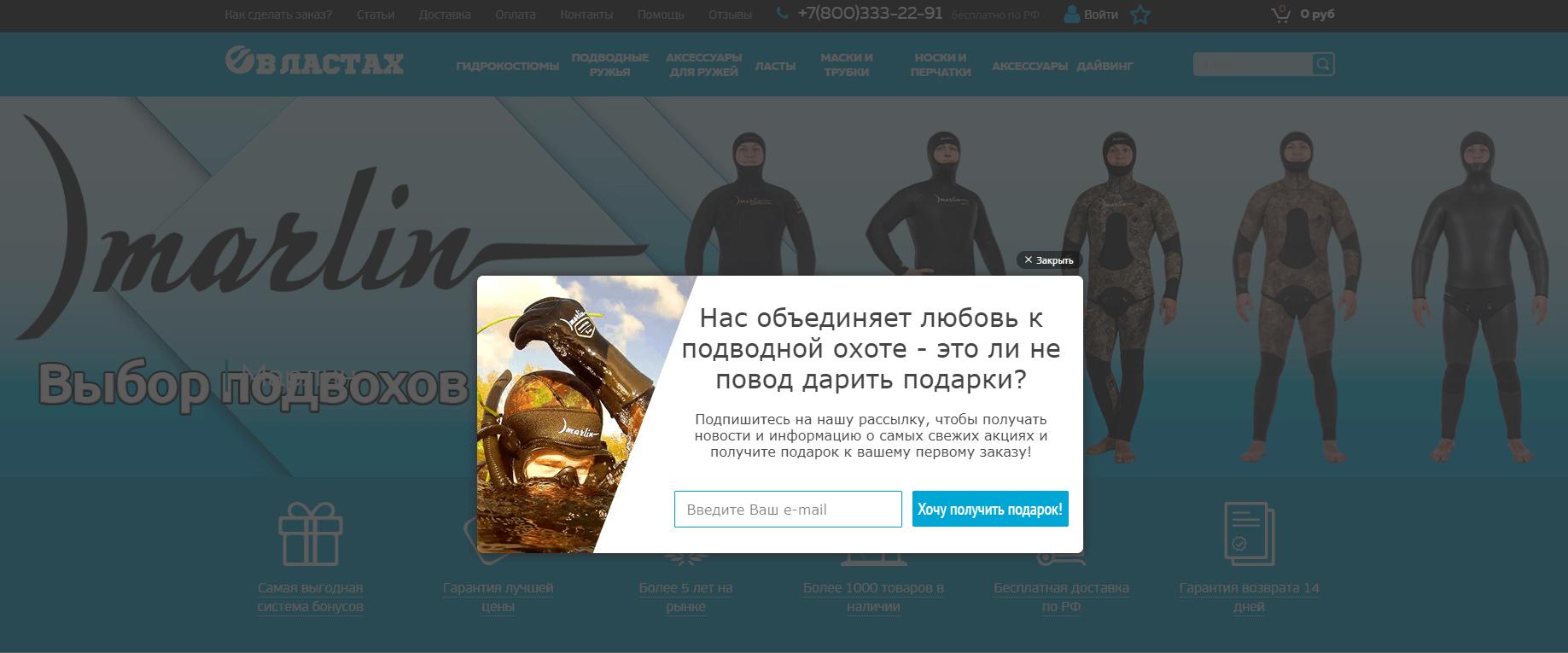 лидогенерация - поп-ап после открытия сайта
