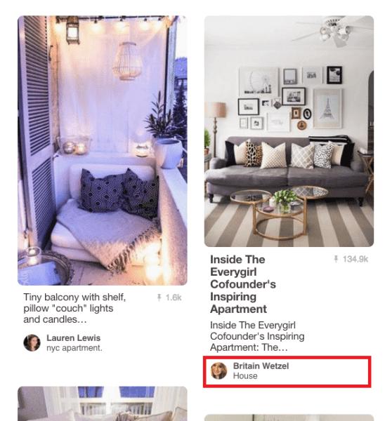 Подпись пользователей/досок в сетке Pinterest