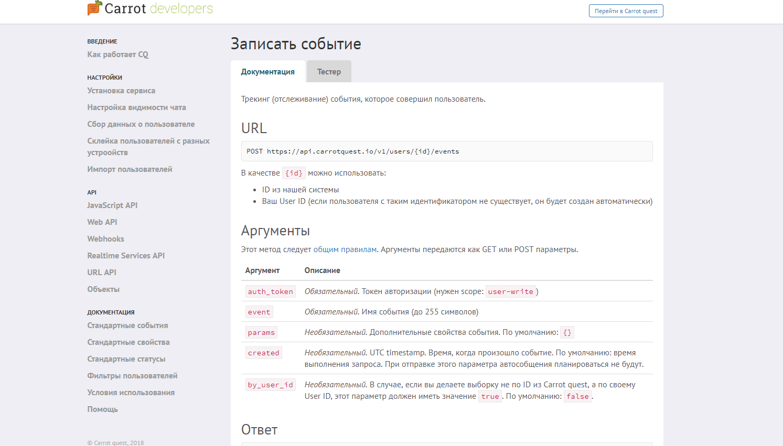 API и Carrot Quest