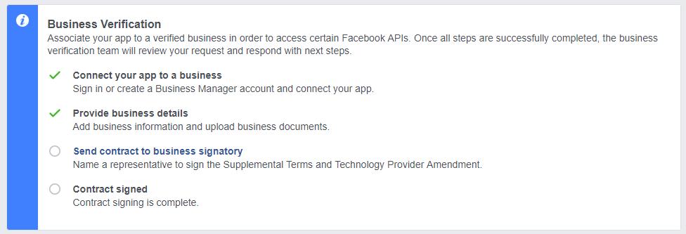 Facebook API верификация бизнеса