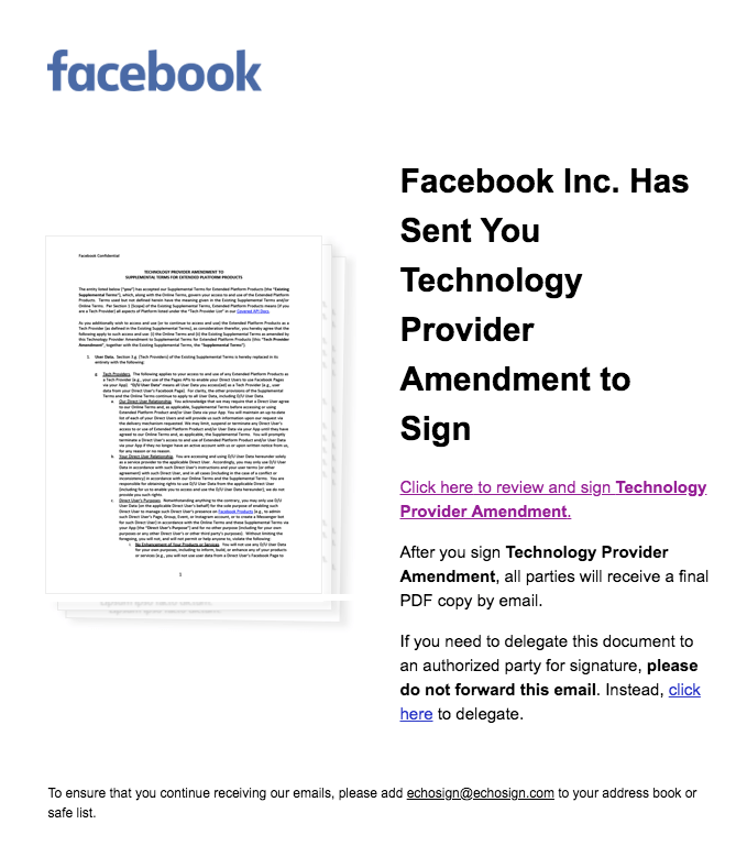 Facebook API письмо