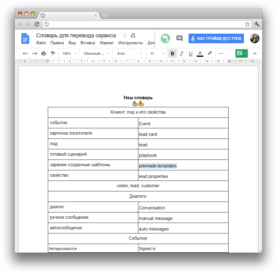 словарь для перевода сервиса