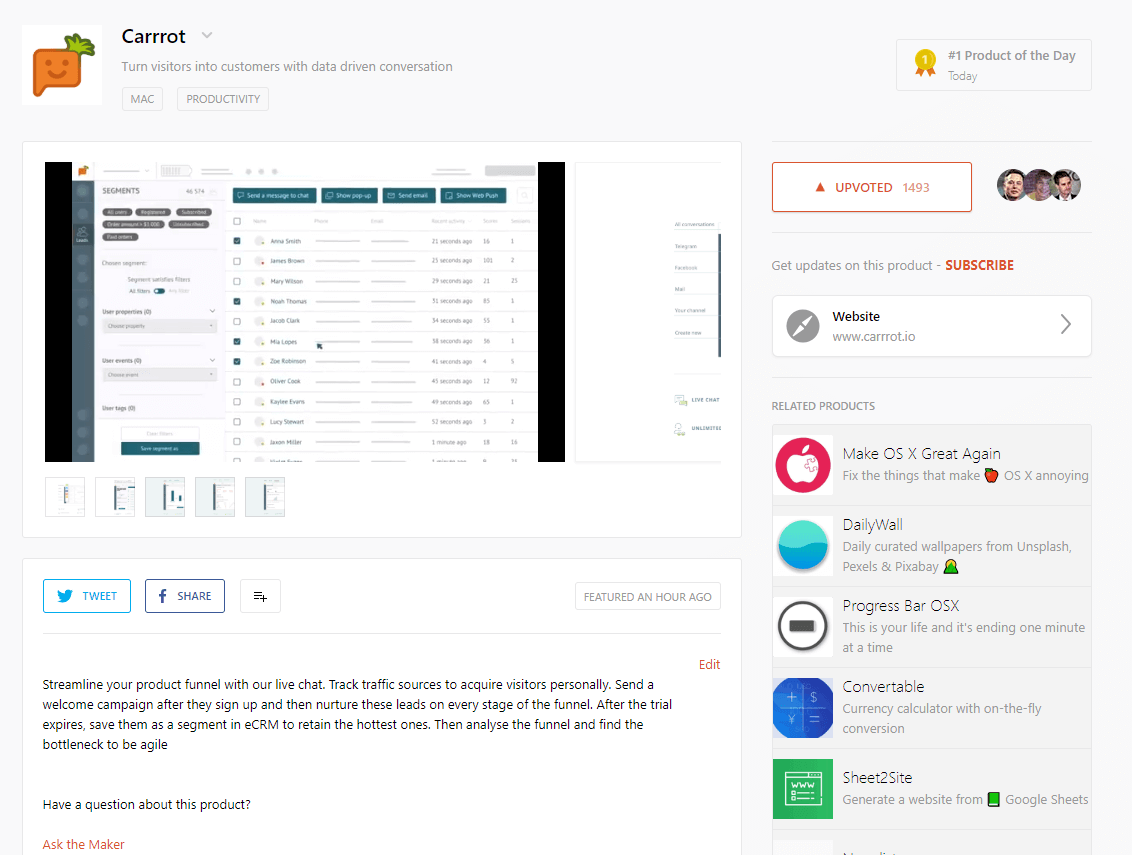 Превью страницы продукта на Product Hunt