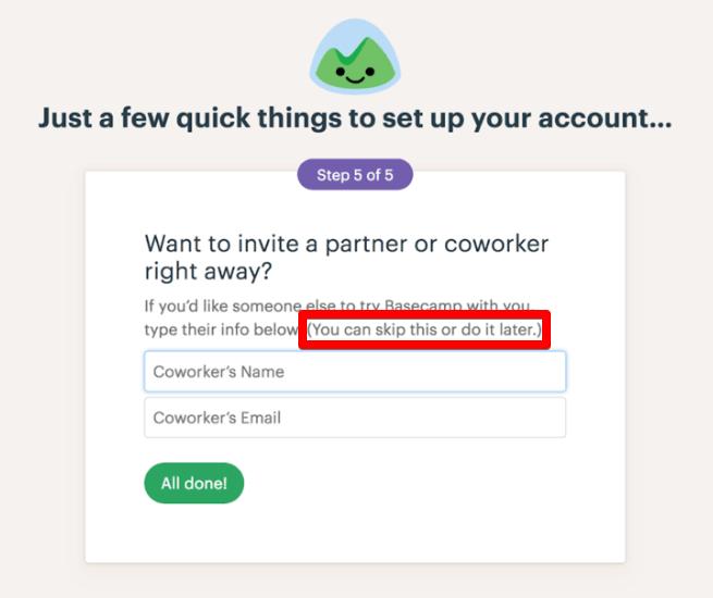Этап приглашения партнера или коллеги в сервисе Basecamp