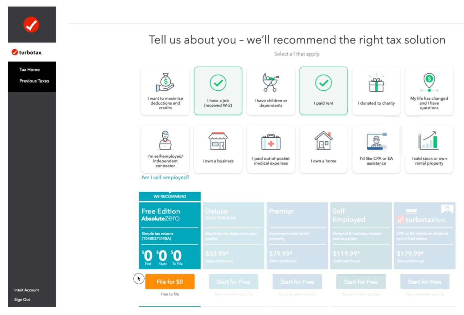 Настройка персонализированных рекомендаций услуг на сайте turbotax