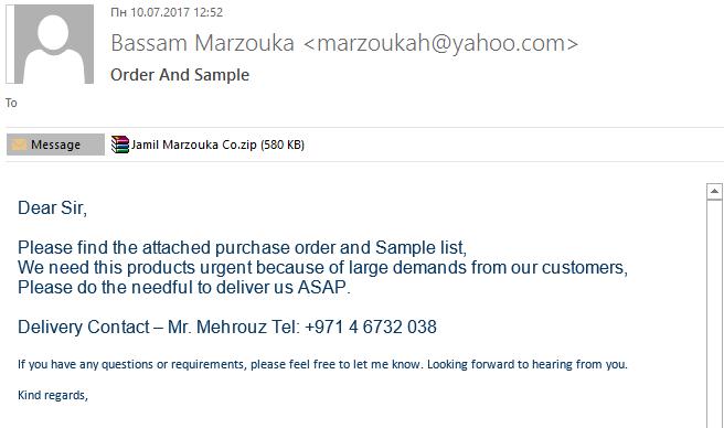 письмо с вложением спам