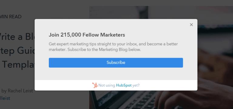 subscription form in hubspot