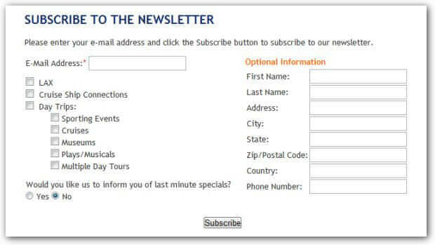 subscription for the newsletter