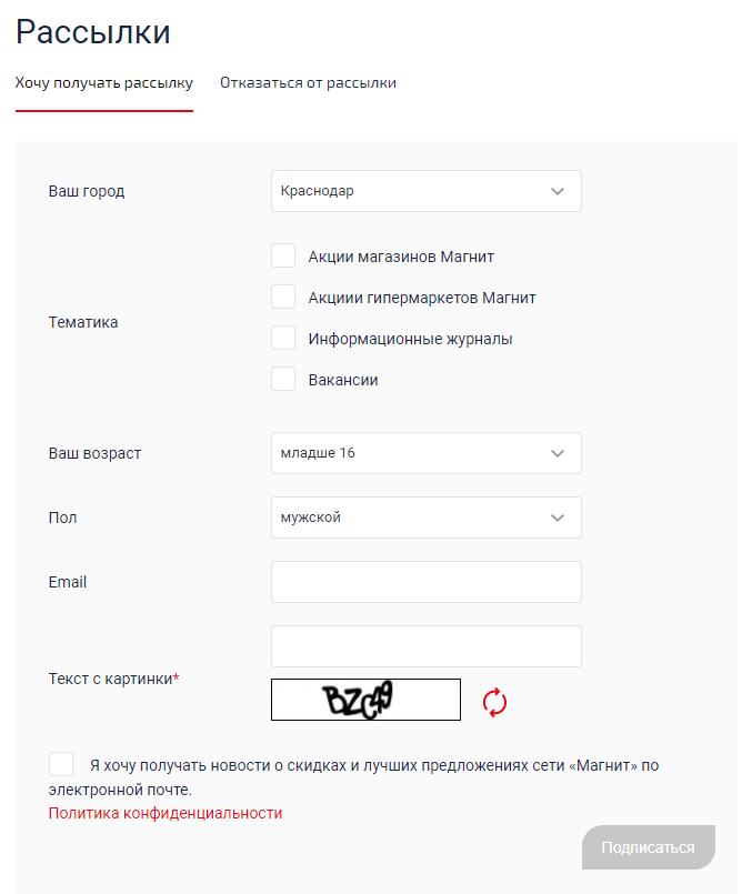 Пример оптимизированной формы регистрации для рассылок