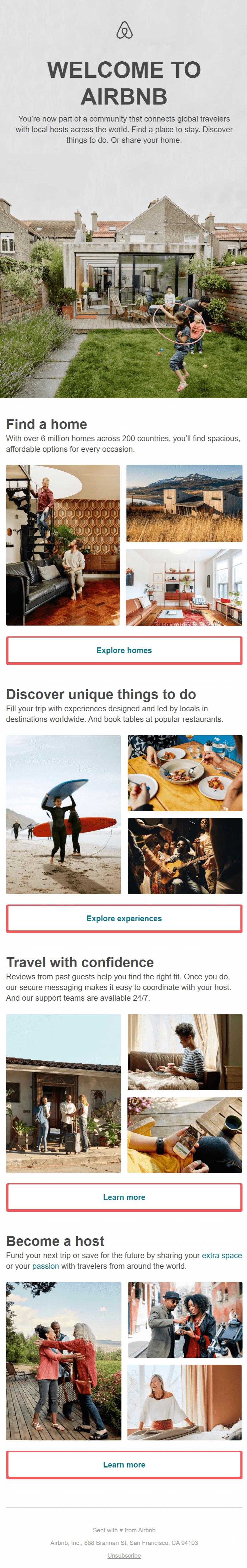 Приветственное письмо сервиса Airbnb