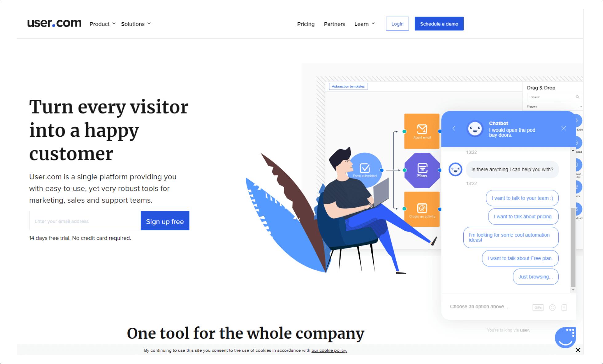 Окно чат-бота на главной странице User.com