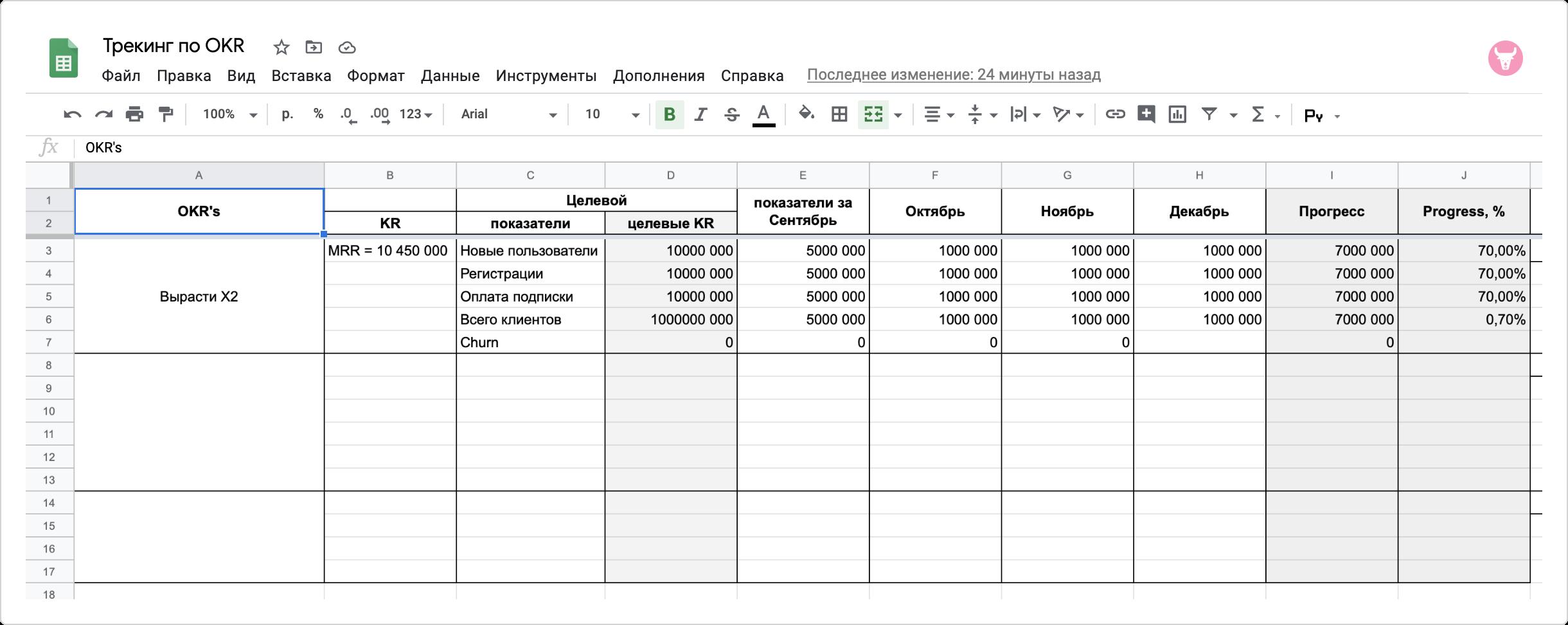 таблица OKR по месяцам