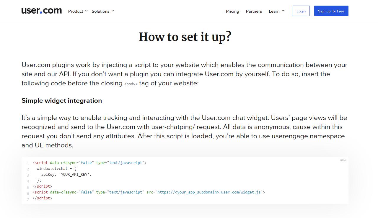 как установить user com