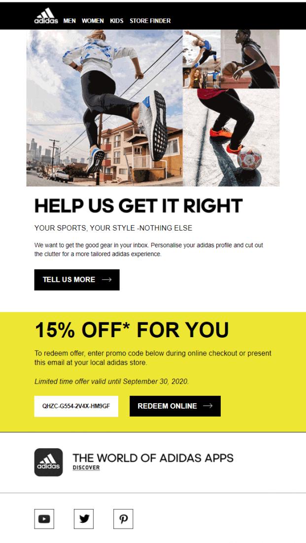 Email-рассылка от бренда спортивной обуви и одежды
