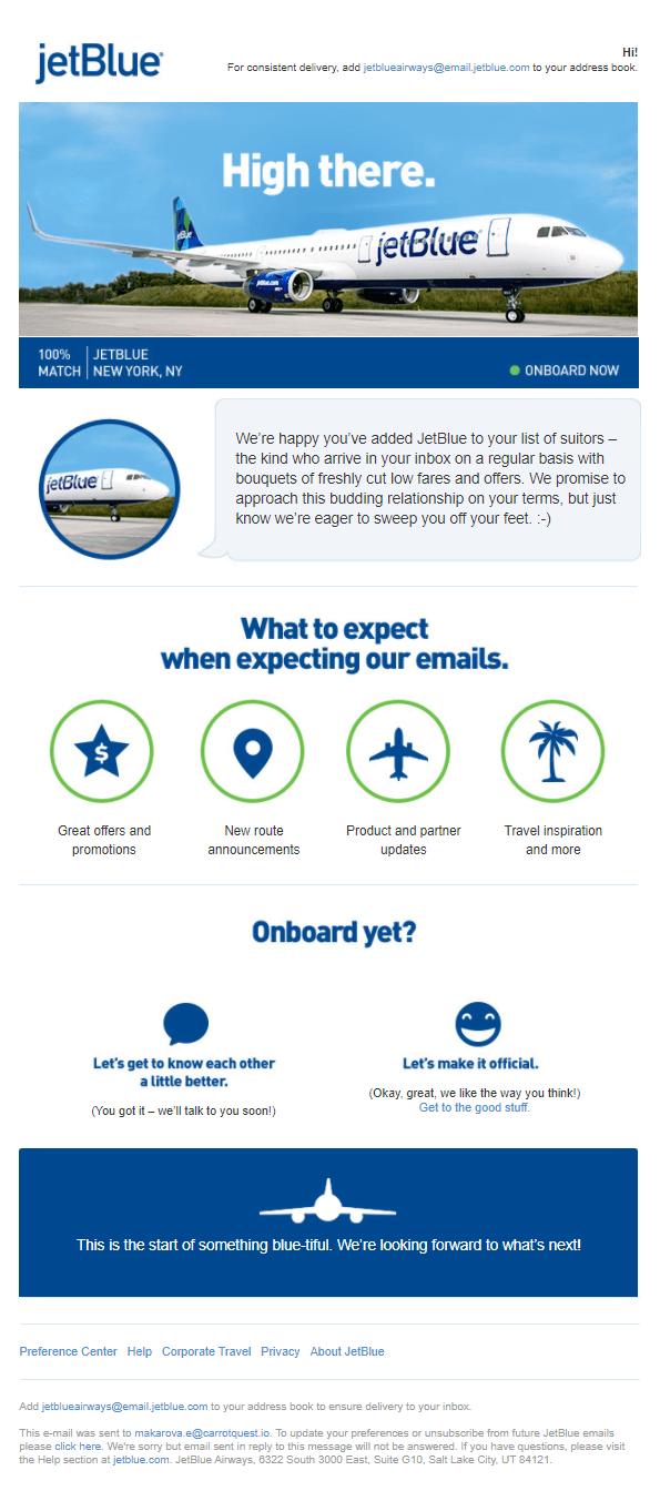 Информационная рассылка от американской авиакомпании