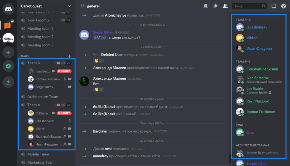 Интерфейс Discord