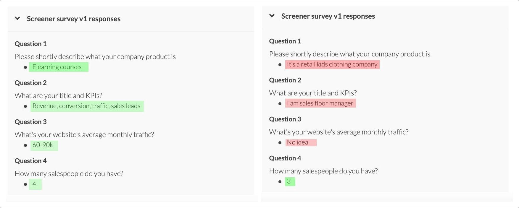 сравнение ответов респондентов