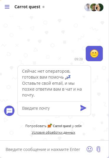 Триггерное сообщение в чате на сайте Carrot quest