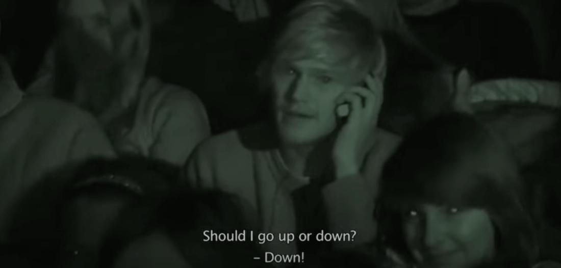 Съемка из кинотеатра, где транслировали интерактивный трейлер